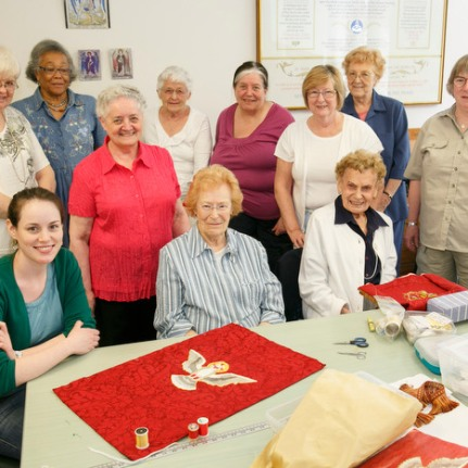 Needleworkers of the Anglican Diocese of Toronto gather on Mondays to work on hand-made embroidery for churches across Canada. Michael Hudson Photography.