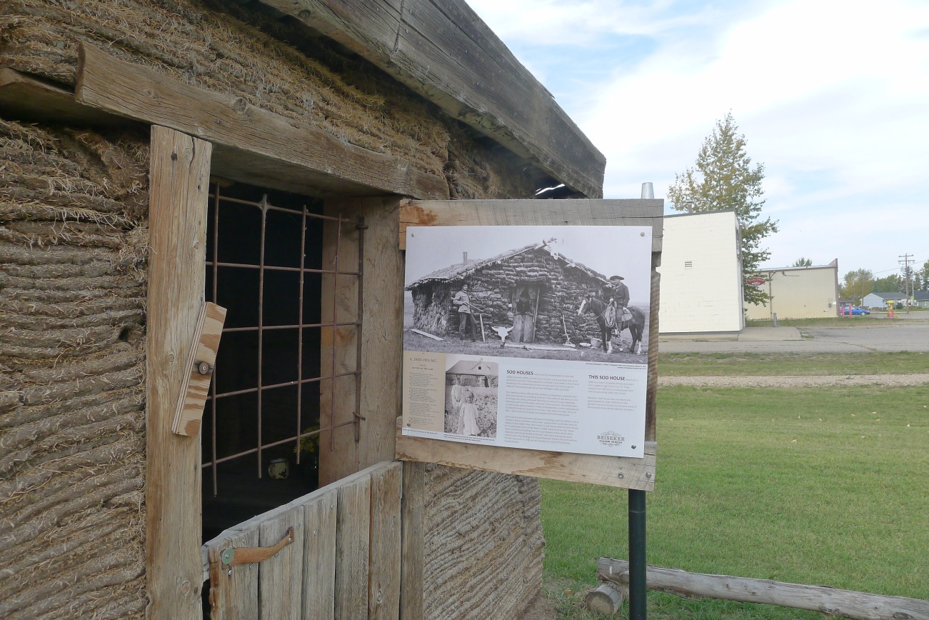 Text panel for the museum's sod house.