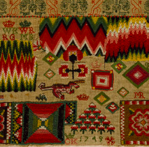 Embroidered sampler, 1749. Victoria and Albert Museum, London.