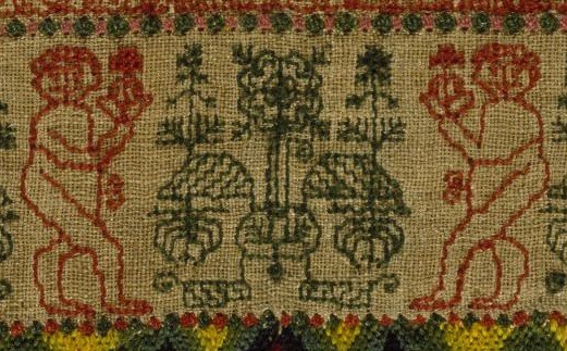 Embroidered sampler, 1749, Victoria and Albert Museum, London.